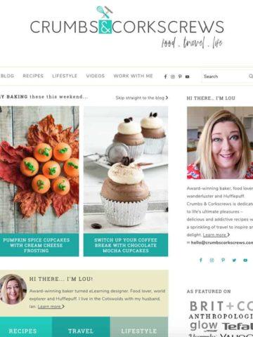 homepage screenshot of crumbsandcorkscrews.com