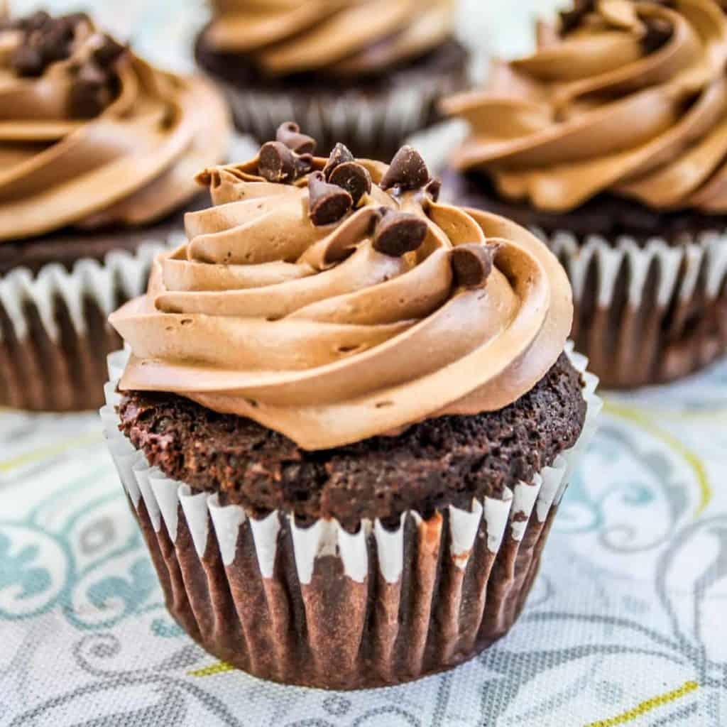 chocolate cupcake with chocolate icing