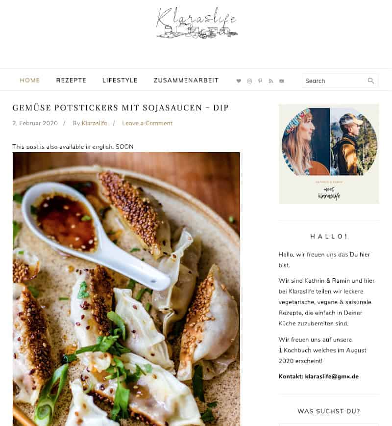 homepage screenshot of klaraslife.com